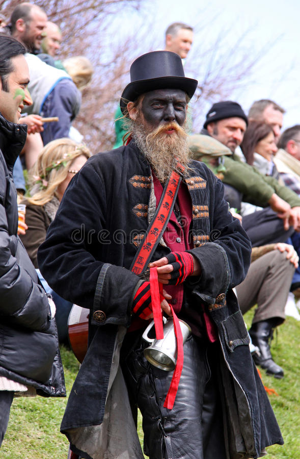 A Bogie at Jack In The Green Festival. A 'Bogie' (person dressed in black costume) at Jack In The Green Festival, May Day Weekend, Hastings Castle, Hastings UK stock images
