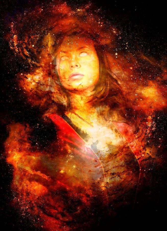Bogini kobieta w Pozaziemskiej przestrzeni Pozaziemski astronautyczny tło Kontakt wzrokowy Pożarniczy skutek ilustracja wektor