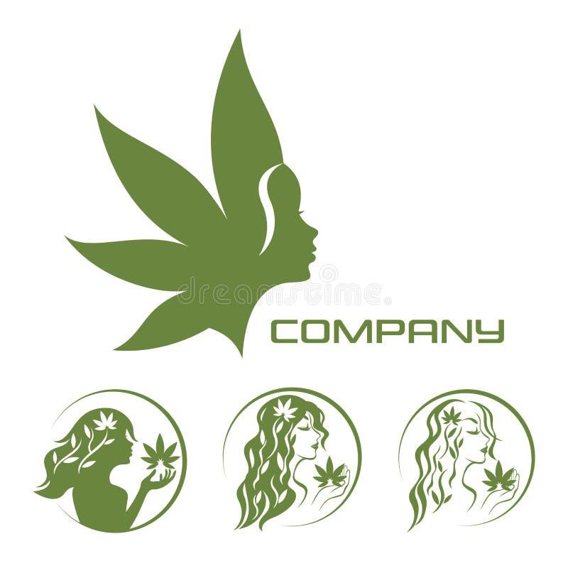 Bogini ziemi i marihuany logo ilustracji