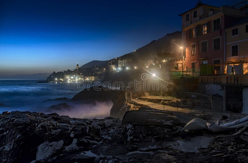 Bogliasco, Genoa, Italy at twilight royalty free stock image
