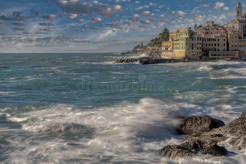 Bogliasco, Genua, Ligurië, Italië bij zonsondergang royalty-vrije stock fotografie
