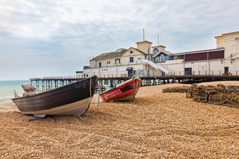 Bognor Regis West Sussex England. Boats on the Beach at Bognor Regis West Sussex England UK Europe stock images