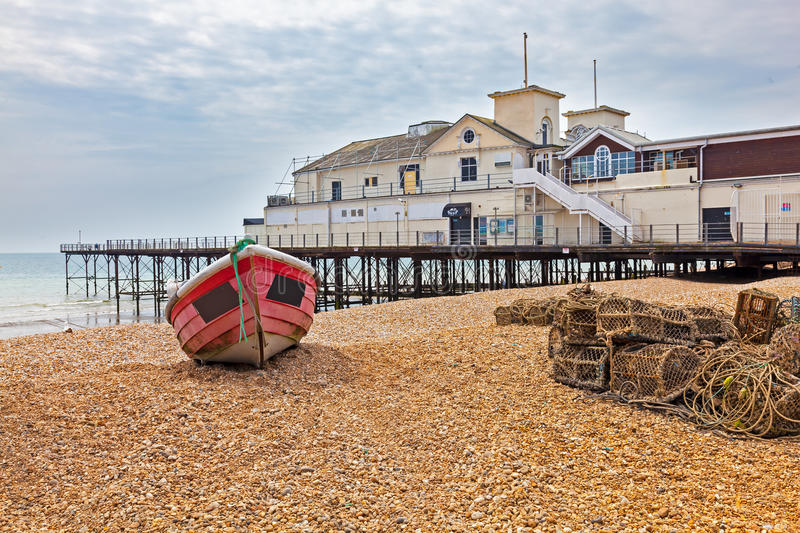Bognor Regis West Sussex England. Boats on the Beach at Bognor Regis West Sussex England UK Europe stock photos