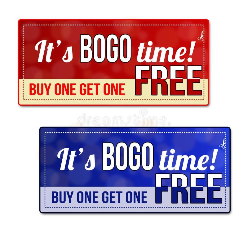 Bogo优惠券,证件,标记 库存例证