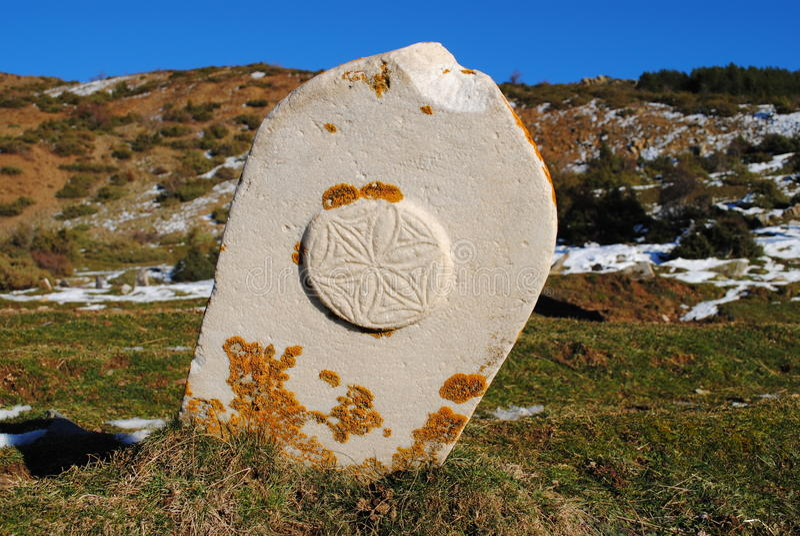 Bogomil tombstone. Near the village of Borje, Albania stock images