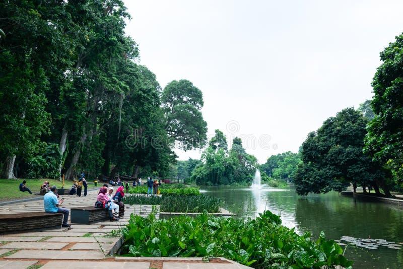 Bogor, Indonesia - 6 de septiembre de 2018: La opinión la gente está consiguiendo relajarse y gozar en los jardines botánicos de  foto de archivo