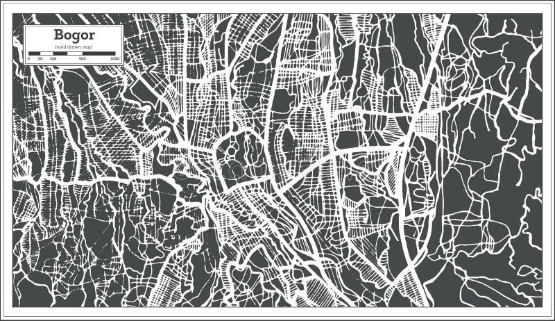 Bogor Java Indonesia City Map occidental dans le rétro style Illustration noire et blanche de vecteur illustration libre de droits