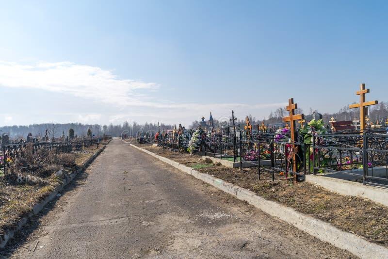 Moscow region. Bogorodskoye cemetery. Road. Bogorodskoye cemetery road between the sites with graves royalty free stock images