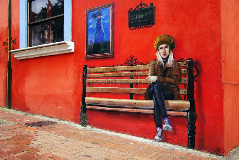 BOGOTÁ, COLÔMBIA, O 28 DE JULHO DE 2018: Pintura mural em Bogotá fotografia de stock royalty free