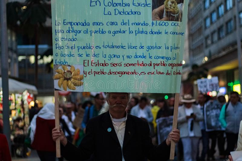 18 Mar 2019 - March for the defense of the JEP, Special Jurisdiction for peace Bogotá Colombia. Bogotá, Colombia. 18th Mar 2019. March for the defense of royalty free stock photography