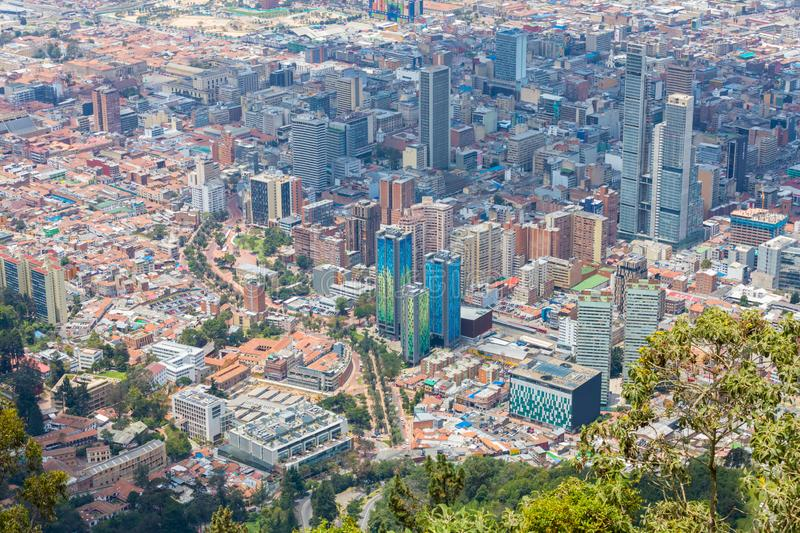 Bogota aerial view of La Candelaria and Veracruz districts royalty free stock photography