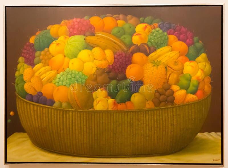 Bogota Botero muzealnego obrazka uprawniony owocowy kosz obrazy royalty free