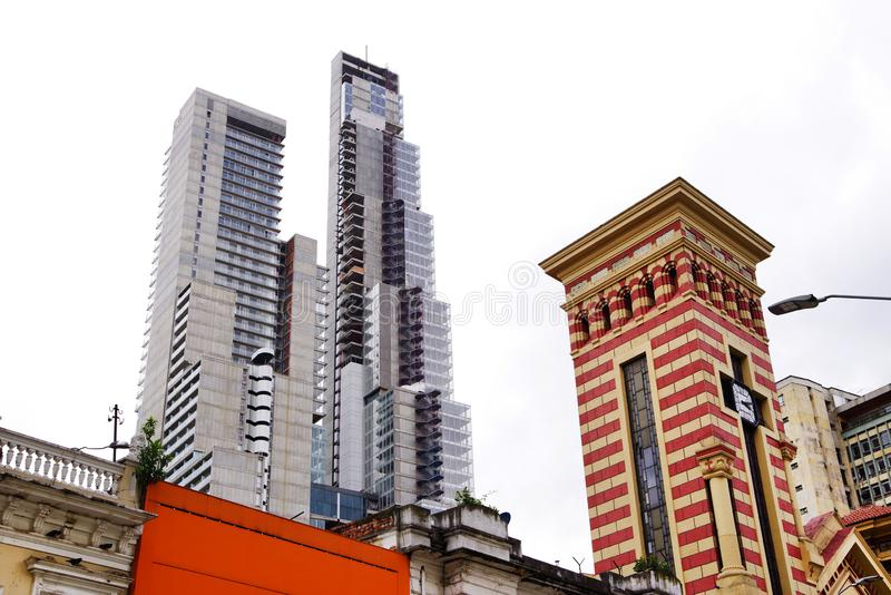 BOGOTA, COLOMBIA, JULY 28, 2018: Architecture of Bogota. BD Bacata is an architectural complex in Bogota featuring the tallest building in the country royalty free stock photography