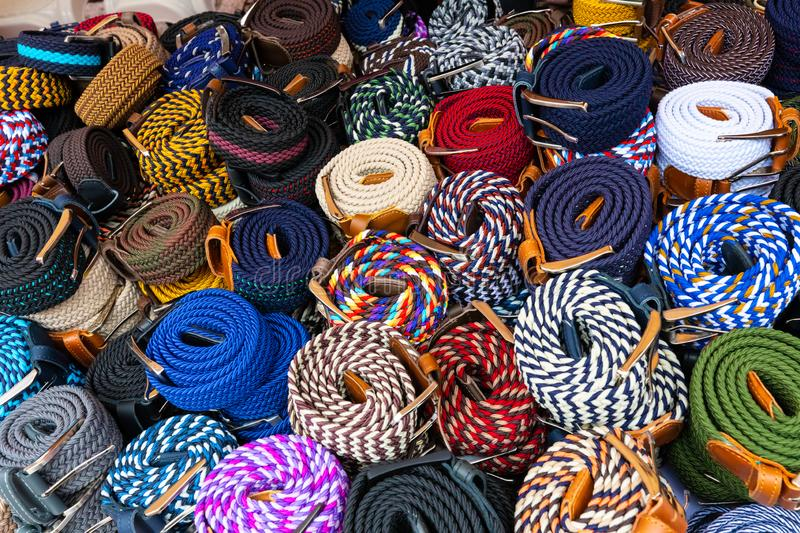 Bogota colorful craft belts Usaquen market royalty free stock image
