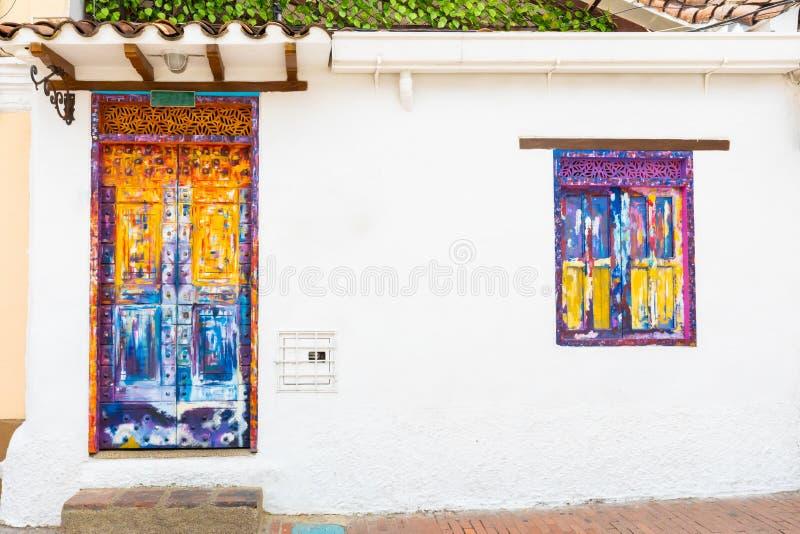 Bogota door and window decorated in Candelaria district stock images