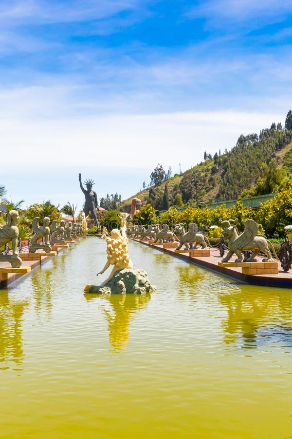 Bogota parque Jaime Duque fountain of deities. Bogota, June 27 Deities fountain replica in the family amusement park named Duque built in 1983 in Bogota  that royalty free stock images