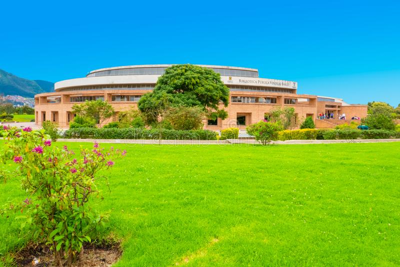 Bogota pubblic library Virgilio Barco exterior view with sun royalty free stock photo