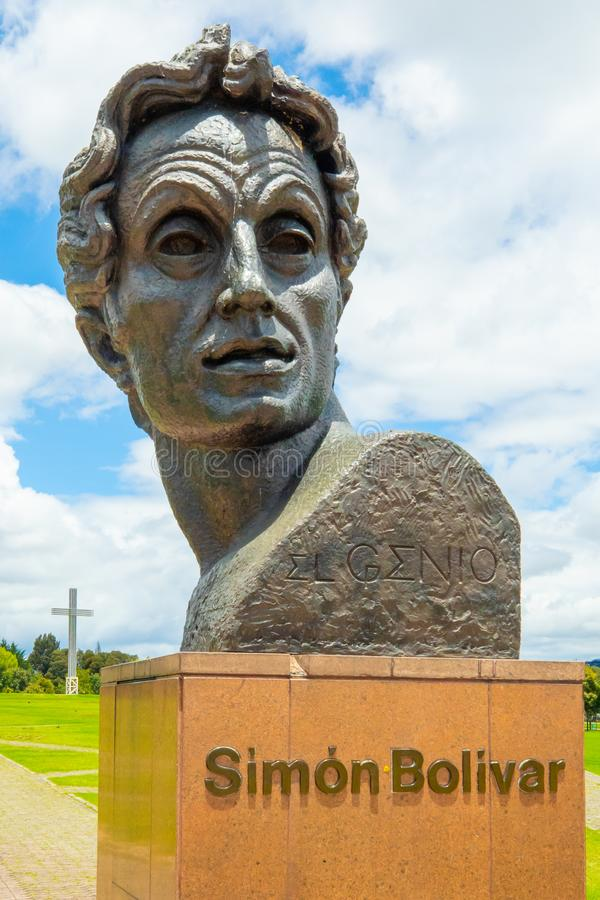 Bogota Simon Bolivar staty fotografering för bildbyråer