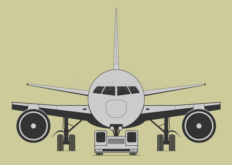 Bogsera flygplan royaltyfri illustrationer