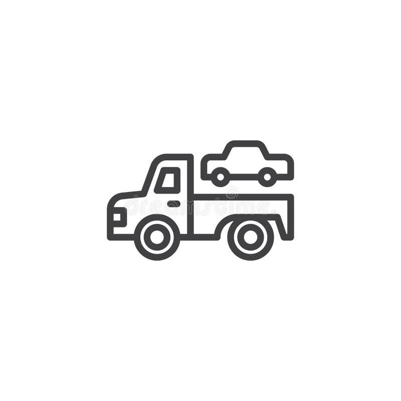 Bogsera lastbilöversiktssymbolen stock illustrationer