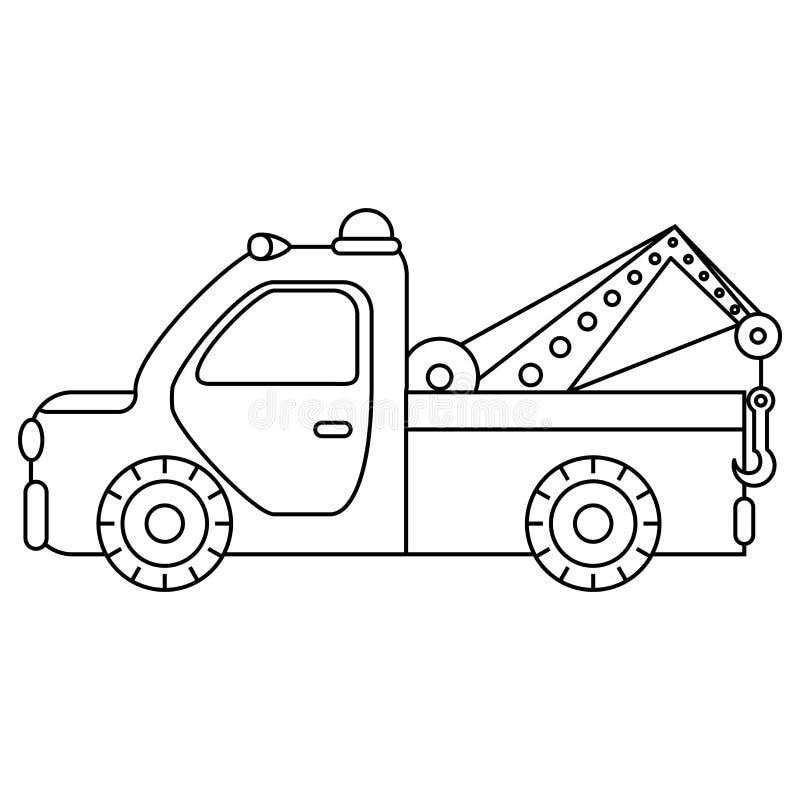 Bogsera lastbilen för trans.nödlägebilar isolerad white för bakgrundscogwheel illustration royaltyfri illustrationer
