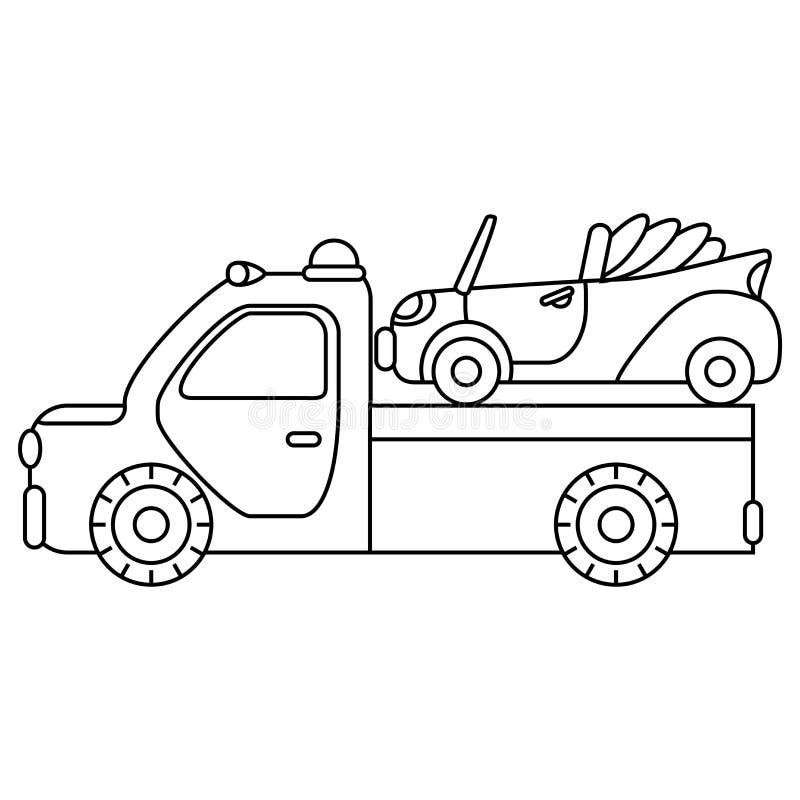 Bogsera lastbilen för trans.nödlägebilar isolerad white för bakgrundscogwheel illustration stock illustrationer