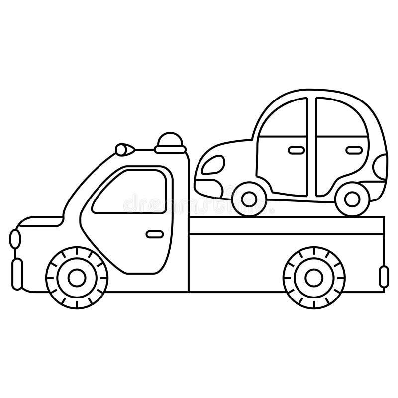 Bogsera lastbilen för trans.nödlägebilar isolerad white för bakgrundscogwheel illustration vektor illustrationer