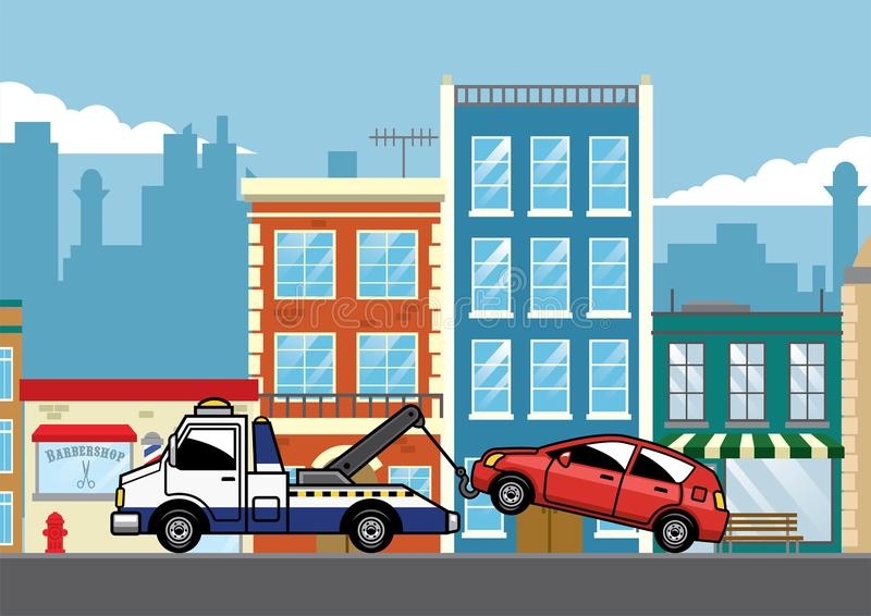 Bogsera lastbilen som drar bilen royaltyfri illustrationer