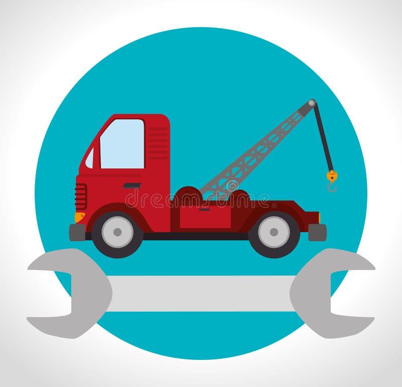 bogsera lastbilmedlet stock illustrationer