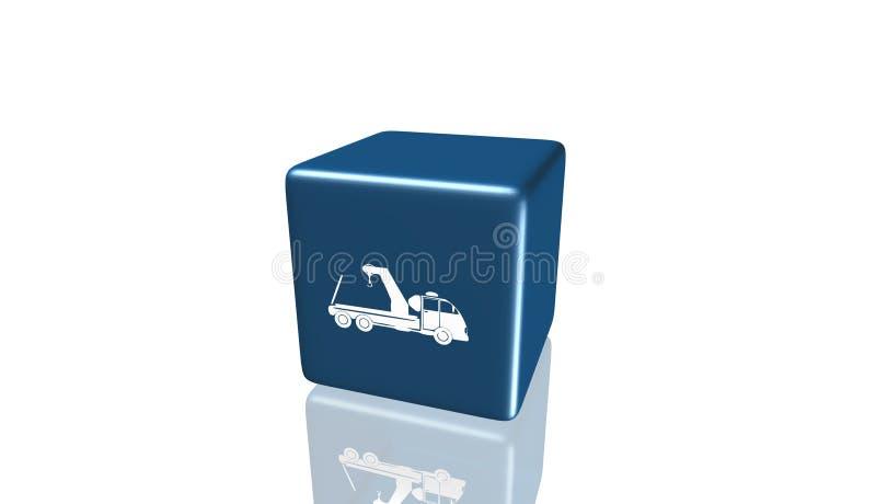 Bogsera lastbilsymbolen, tecken, 3D illustration, bästa symbol royaltyfri illustrationer