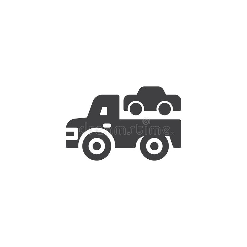 Bogsera lastbilvektorsymbolen stock illustrationer