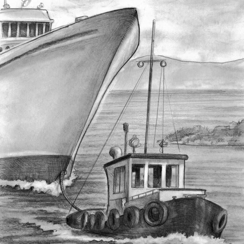 bogserbåt för bogsera för fartygkryssningship royaltyfri illustrationer