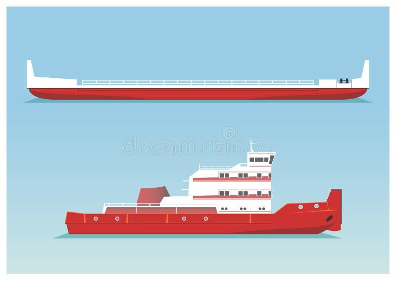 Bogserbåt och pråm stock illustrationer