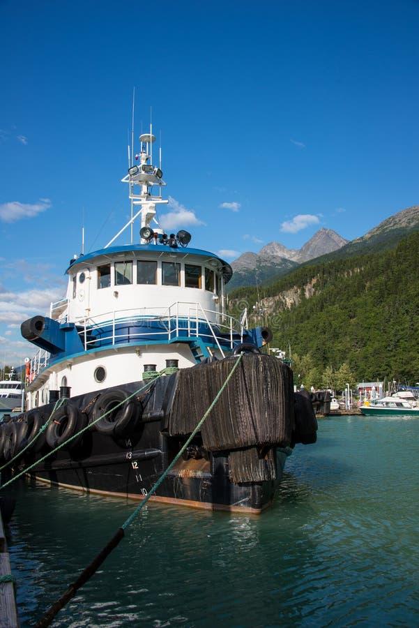 Bogserbåtfartyg, Skagway, Alaska arkivfoton