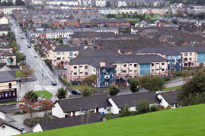 Bogside, Londonderry. Londonderry, Northern Ireland - October 3, 2013 : The Bogside is a majority-Catholic neighbourhood outside the city walls of Derry stock images