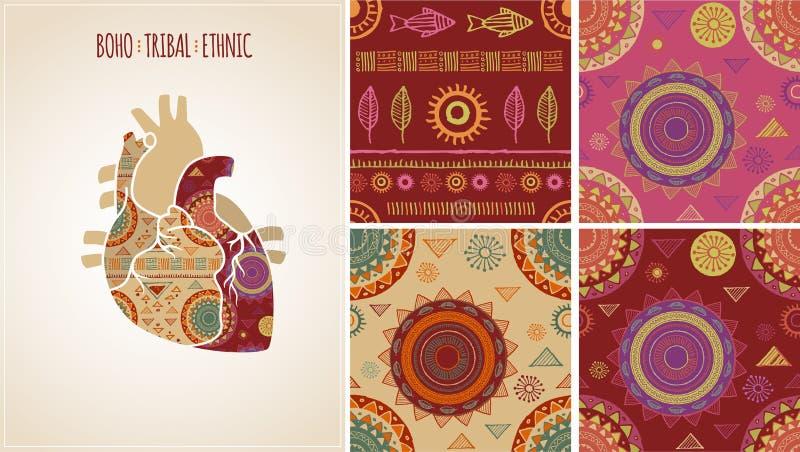 Bohémien, tribal, origine ethnique avec le coeur illustration de vecteur