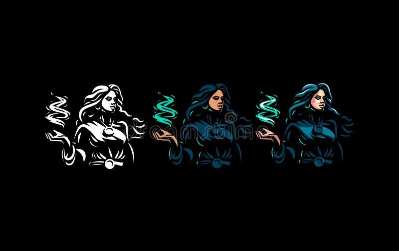 Bohémienne de sorcière avec les cheveux débordants illustration stock