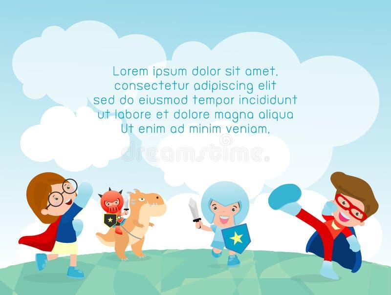 Bohaterów dzieciaki przy boiskiem, bohater żartują bawić się outside, szablon dla reklamowej broszurki, twój tekst, Wektorowa ilu ilustracja wektor