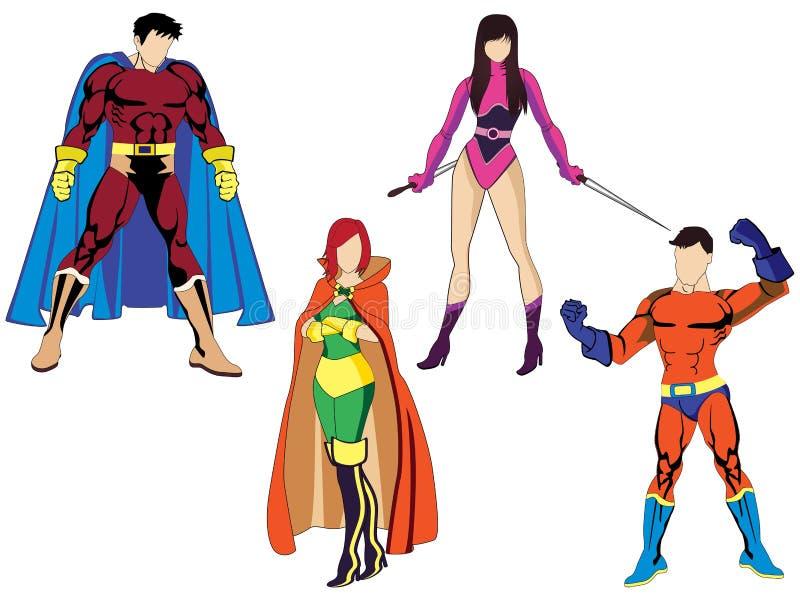 Bohaterów kostiumy royalty ilustracja