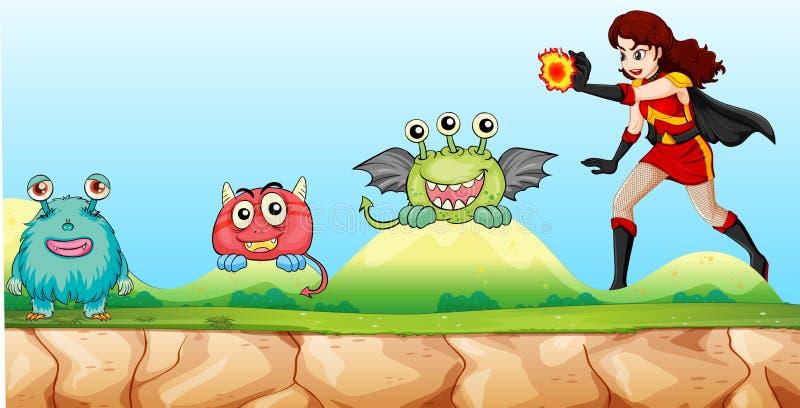 Bohaterów walczący potwory w parku ilustracji