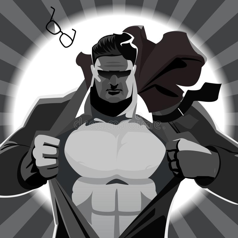 Bohater drzeje daleko jego kurtkę ilustracja wektor