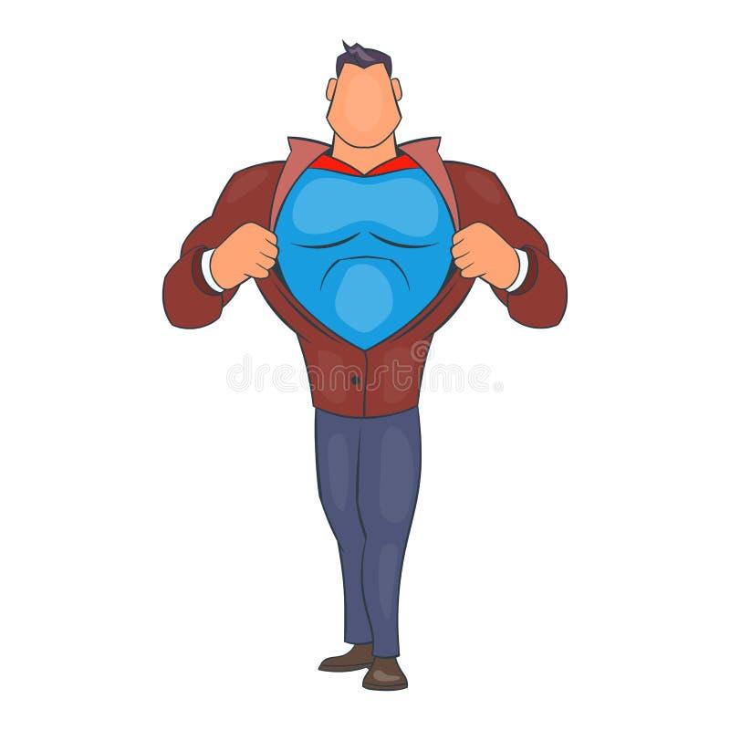 Bohater drzeje jego koszulową ikonę, kreskówka styl royalty ilustracja