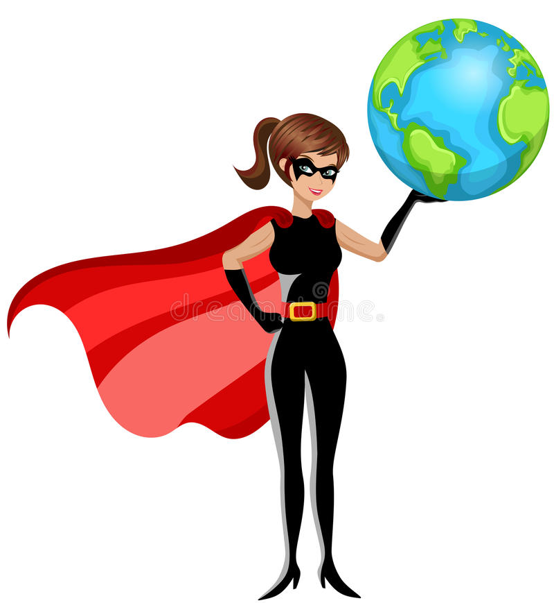 Bohater kobiety ziemia odizolowywająca ilustracja wektor