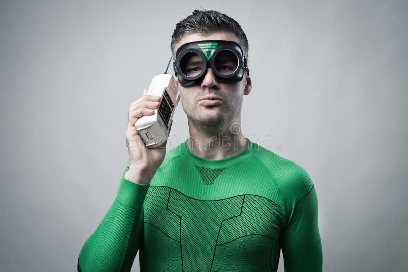 Bohater na telefonie obrazy royalty free