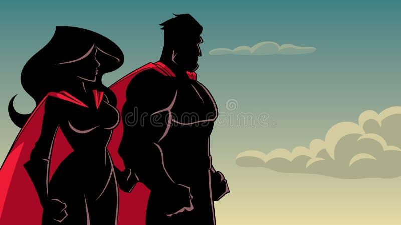 Bohater para Stoi Wpólnie sylwetkę ilustracji