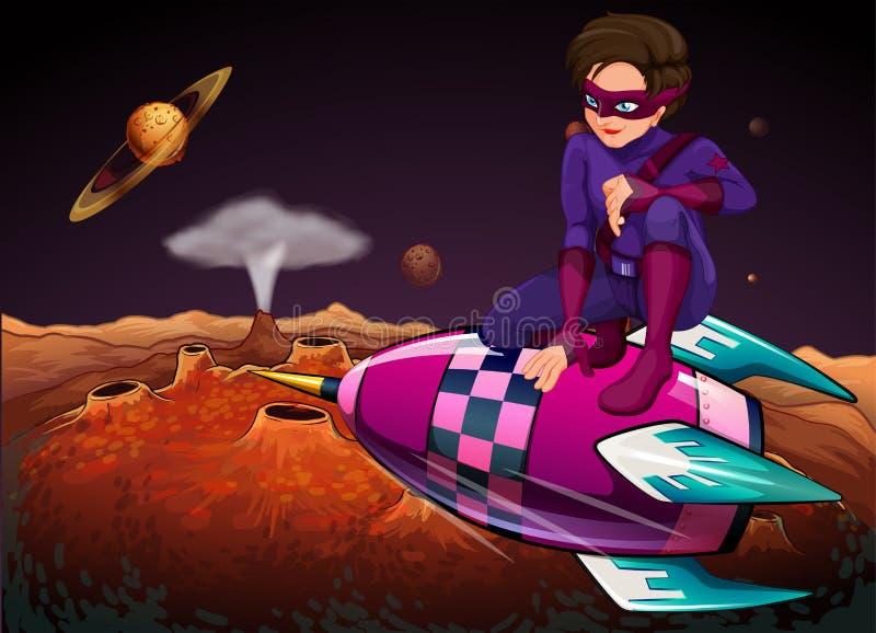 Bohater przy outerspace nad statek kosmiczny ilustracja wektor