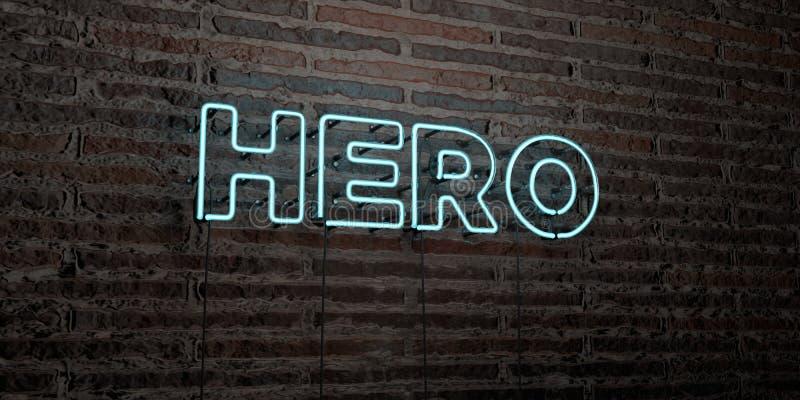 BOHATER - Realistyczny Neonowy znak na ściana z cegieł tle - 3D odpłacający się królewskość bezpłatny akcyjny wizerunek ilustracji