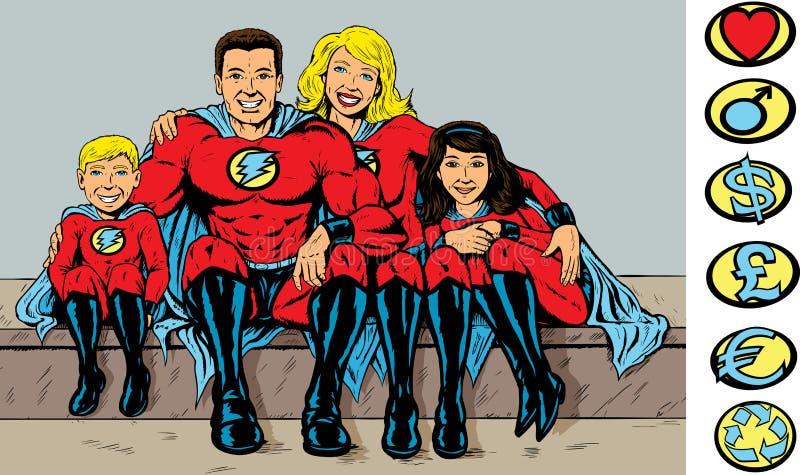 Bohater super rodzina royalty ilustracja