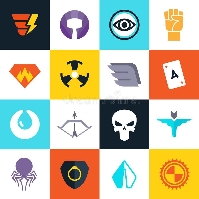 Bohater wektorowe odznaki z super broniami Bohaterów symbole inkasowi ilustracja wektor