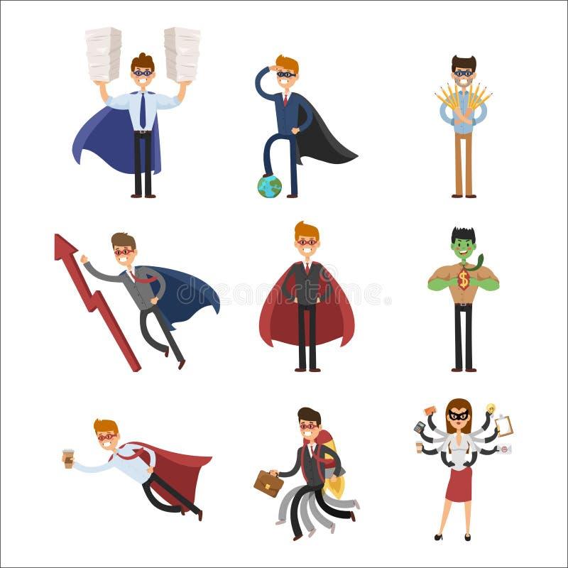 Bohatera biznesowego mężczyzna kobiety ilustraci charakteru sukcesu kreskówki władzy pojęcia wektorowego ustalonego biznesmena si ilustracji